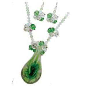 Fashion Jewelry ~ Murano Glass Deluxe Set ~ Green Flower Murano