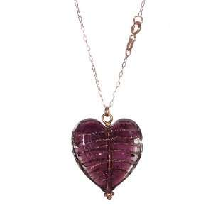 10k Rose Gold Rolo Chain with Purple Murano Glass Heart