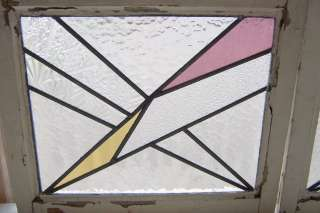 Pair Antique Stained Glass Windows Deco Lightning Bolts
