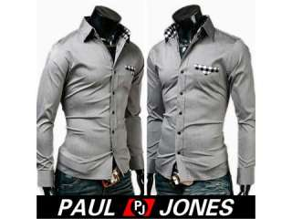 New Mens Pocket Design Casual Slim Fit Dress Shirts
