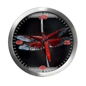 Modern Wall Clock Red Flame Dragonfly
