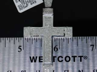 White Gold Finish Pave Diamond Cross Charm (9.4 grams approx