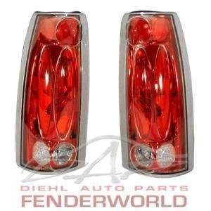 CHEVY GMC C/K PICKUP 88 98 RED CHROME TAIL LIGHTS Automotive