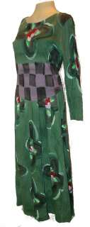 Dress, Ahni & Co, Hand Painted 100% Cotton Green multi Long, Art To