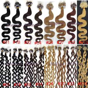 20 Loop/Mirco ring curly&wave human hair extensionsall colors