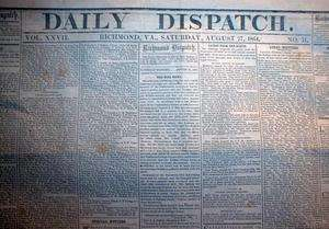1864 Confederate Civil War newspaper General NATHAN B FORREST Battle