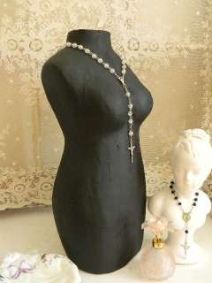 Paris Flea Mkt CHIC~Table Top Mannequin Dress Form~Torso~Rosary Beads