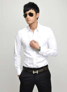 New Mens Slim Luxury Stylish Patched Dress Shirts 6055