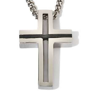 Colibri™ Mens Stainless Steel Cross Pendant with 24 Curb Link