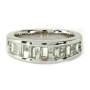 Princess & Baguette Diamond 14k White Gold Anniversary / Wedding Ring