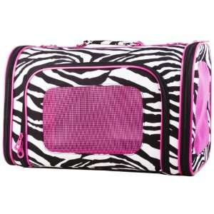 Zebra Pink Trim Pet Dog Cat Carrier  16