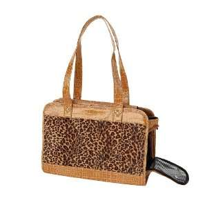 Dog Cat Leopard Print Pet Carrier W/Tan Trim Camel Small