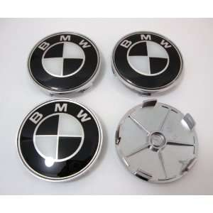 4PCS X BMW Black Wheel Center Caps, Badge, Emblem 68mm