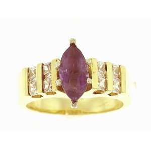 14k yellow gold amethyst diamond cubic zirconia beautiful