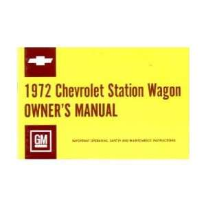 1972 CHEVROLET STATION WAGON Owners Manual User Guide