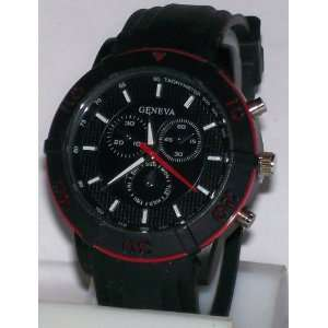 Geneva Classic Black Watch W/ Red Bezel & Silicone Band