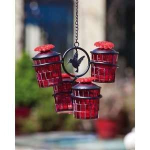 2 Piece Red Glass Mosaic Hummingbird Feeder Patio, Lawn & Garden
