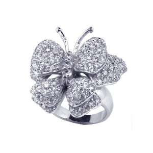 Sterling Silver Butterfly CZ Covered Ring Size 9 Jewelry