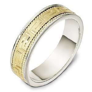 6mm 18 Karat Two Tone Gold Greek Key Wedding Band Ring   9 Jewelry