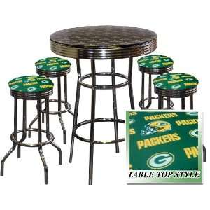 GREEN BAY PACKERS FOOTBALL Glass Top Chrome Bar Table Set