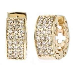 14K Yellow Gold Pave Diamond Huggie Hoop Earrings (1/2cttw, SI Clarity