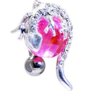 Pink Cubic Zirconia Top Mount Globe Gecko Belly Ring Jewelry