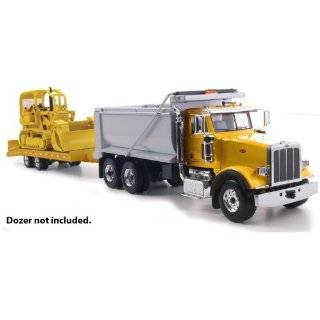 Peterbilt Model 367 Dump Truck With Beavertail Trailer Yellow 1/50