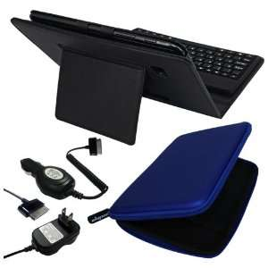 Premium Black Leather Case With Bluetooth Keyboard + Blue