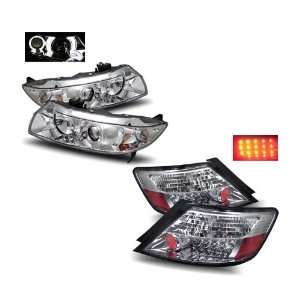 08 Honda Civic 2Dr Chrome Projector Headlights + LED Tail Lights Combo