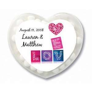 in Love Mosaic Personalized Heart Shaped Mint Containers (Set of 24