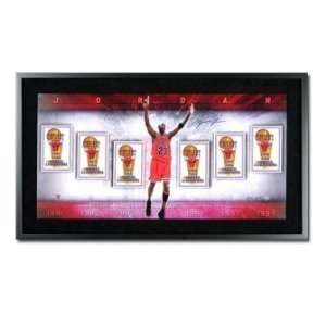 Michael Jordan Signed Bulls Banners Collage Framed UDA