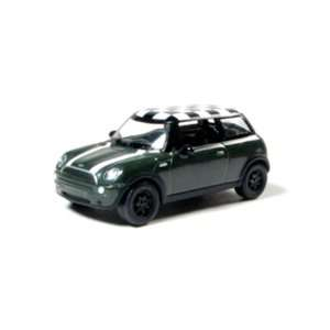 Mini Cooper 1/64 Green w/White Stripes Toys & Games
