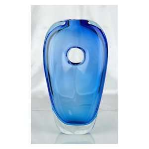 Murano Glass Blue Vase Beautiful & Heavy 100% Hand Blown Art X433