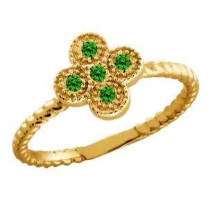 Round Green Diamond 18k Yellow Gold Ring