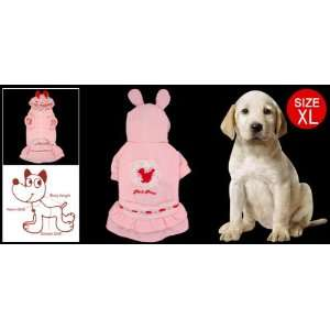 XL Pink Red White Cake Dress w Rabbit Design Cap for Dog