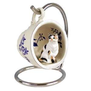 Calico Red Holiday Tea Cup Cat Ornament