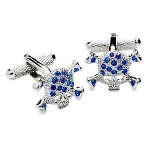 Skull shaped Swarovski cufflinks with Blue crystals Jewelry