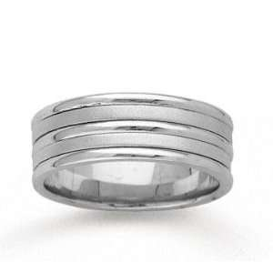 14k White Gold Fine Strips Hand Carved Wedding Band Jewelry