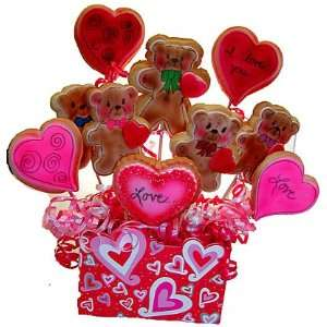 Hearts and Teddy Bears 10 Cookie Bouquet