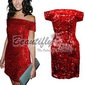 Cute Red Sequins Square Shoulder Cocktail Ball Women Short
