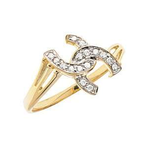 14K Yellow Gold Diamond Horseshoe Ring (Size 5.5) Jewelry