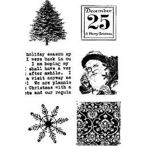 Holiday Cube    Wood Mounted Stamp (six images on one stamp, each 2 1