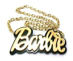 MP706 NICKI MINAJ BARBIE Mirror Gold Pendant w/ Link Chain BLACK