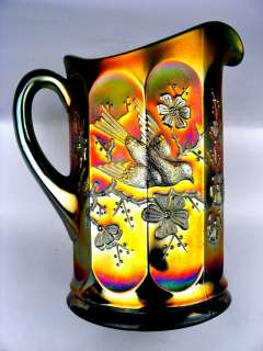 SINGING BIRDS ~ GORGEOUS NORTHWOOD GREEN CARNIVAL GLASS WATER PITCHER